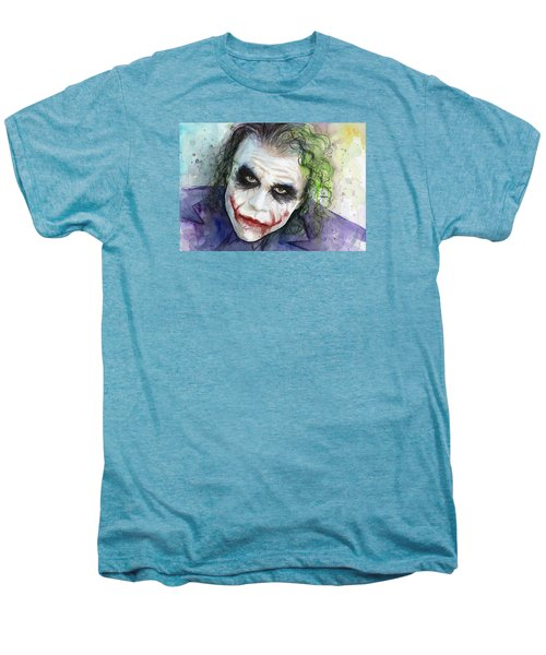 The Joker Watercolor Men's Premium T-Shirt by Olga Shvartsur