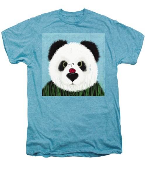 The Panda And His Visitor  Men's Premium T-Shirt by Michelle Brenmark