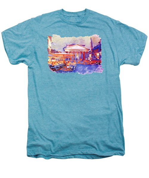 The Pantheon Rome Watercolor Streetscape Men's Premium T-Shirt