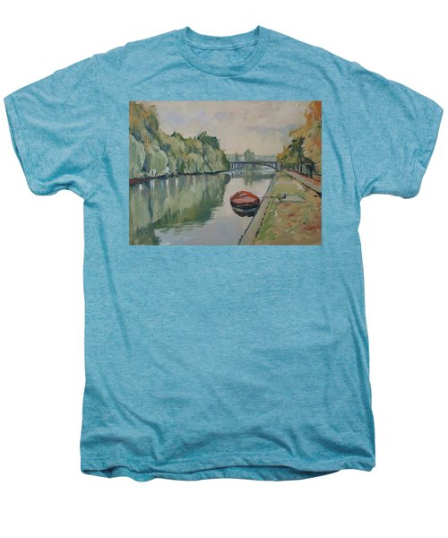 The Small Boat Along The Quai Of Halage Vise Men's Premium T-Shirt
