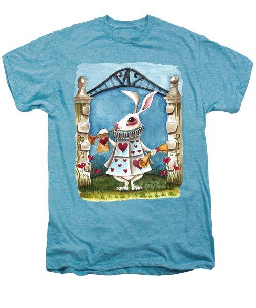 The White Rabbit Announcing Men's Premium T-Shirt by Lucia Stewart