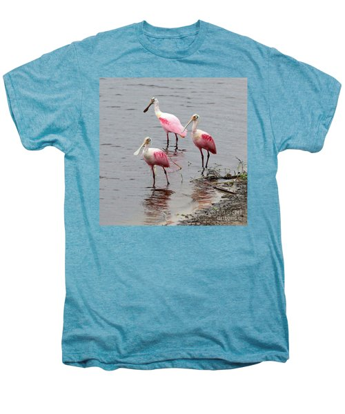 Three Roseate Spoonbills Square Men's Premium T-Shirt by Carol Groenen