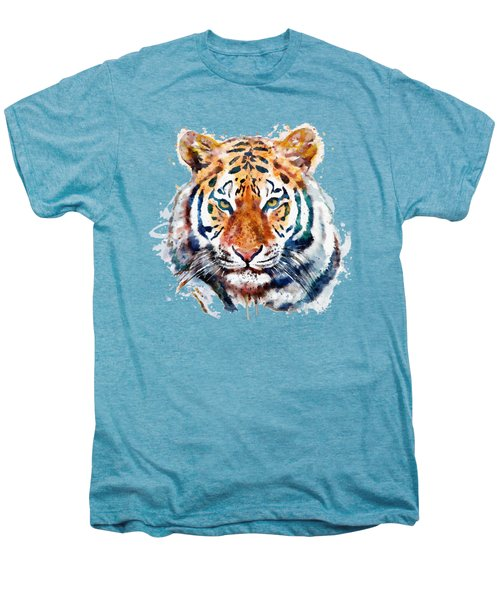 Tiger Head Watercolor Men's Premium T-Shirt by Marian Voicu