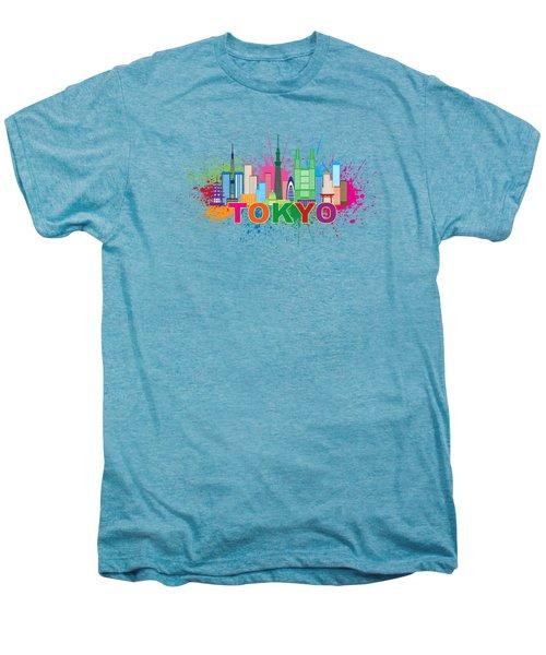 Tokyo City Skyline Paint Splatter Illustration Men's Premium T-Shirt by Jit Lim