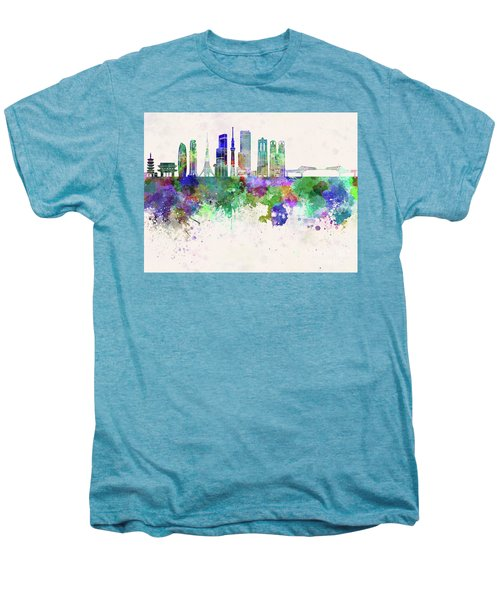 Tokyo V3 Skyline In Watercolor Background Men's Premium T-Shirt by Pablo Romero