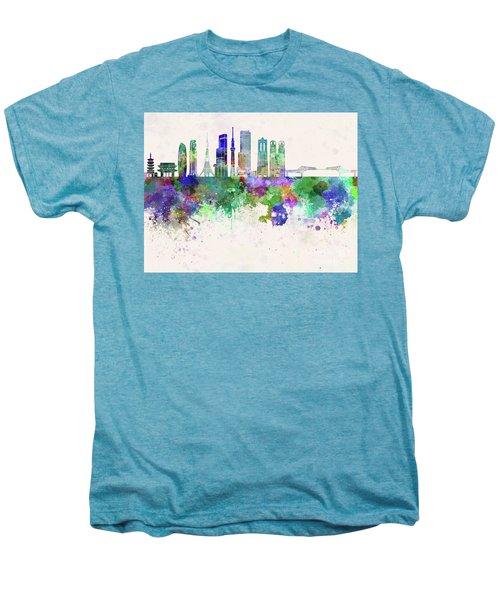Tokyo V3 Skyline In Watercolor Background Men's Premium T-Shirt by Pablo Romero