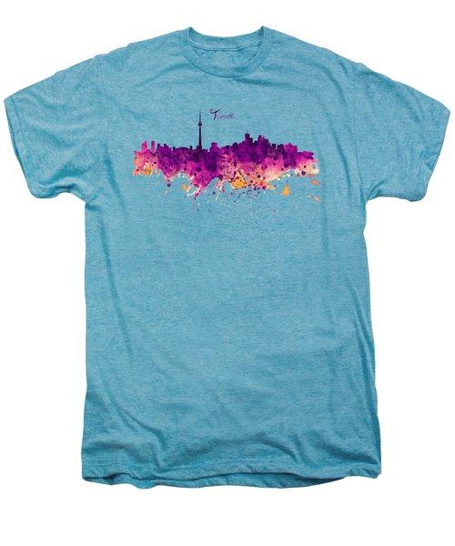 Toronto Watercolor Skyline Men's Premium T-Shirt by Marian Voicu