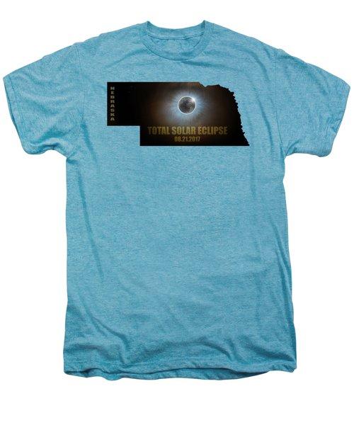 Total Solar Eclipse In Nebraska Map Outline Men's Premium T-Shirt