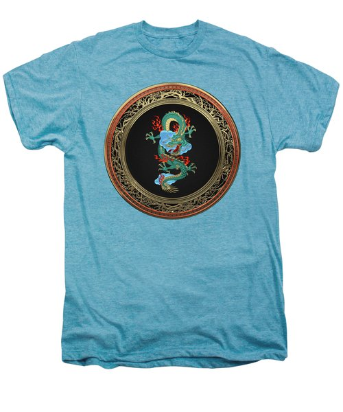 Treasure Trove - Turquoise Dragon Over White Leather Men's Premium T-Shirt by Serge Averbukh