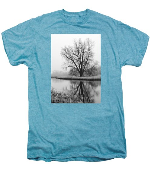Tree Reflection In The Fox River On A Foggy Day Men's Premium T-Shirt