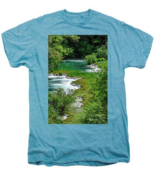 Turqouise Waterfalls Of Skradinski Buk At Krka National Park In Croatia Men's Premium T-Shirt