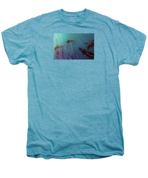 Turquoise Current And Seaweed Men's Premium T-Shirt by Nareeta Martin