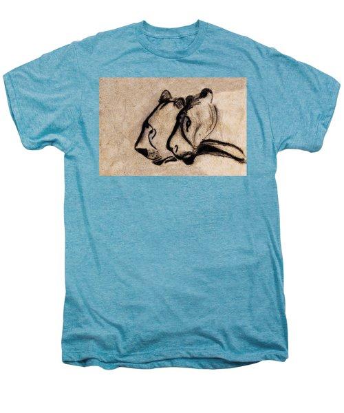 Two Chauvet Cave Lions - Clear Version Men's Premium T-Shirt
