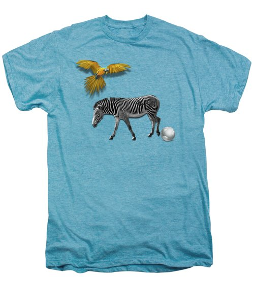 Two Zebras And Macaw Men's Premium T-Shirt