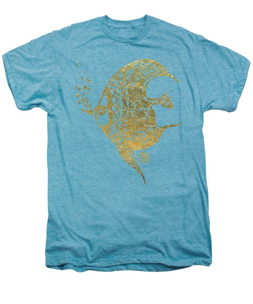 Unique Golden Tropical Fish Art Drawing By Megan Duncanson Men's Premium T-Shirt