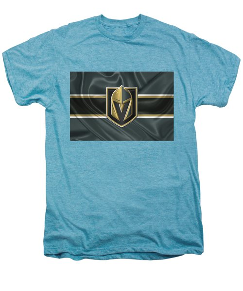 Vegas Golden Knights - 3 D Badge Over Silk Flag Men's Premium T-Shirt