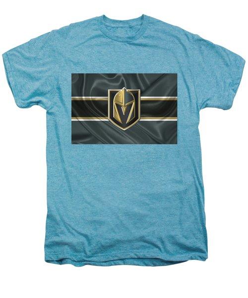 Vegas Golden Knights - 3 D Badge Over Silk Flag Men's Premium T-Shirt