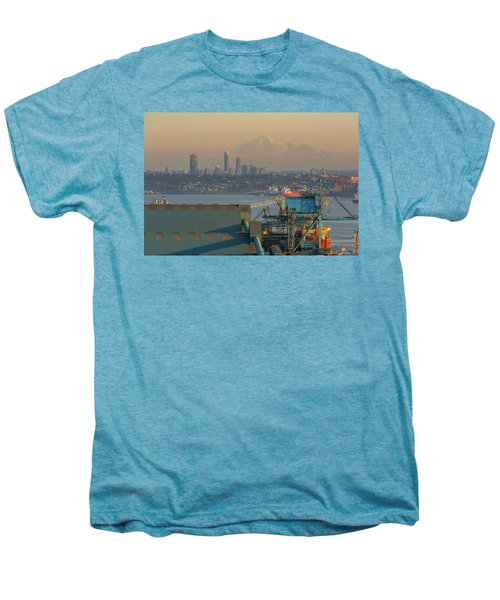 View Of Mount Baker And Vancouver Bc At Sunset Men's Premium T-Shirt