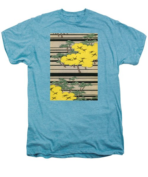 Vintage Japanese Illustration Of An Abstract Forest Landscape With Flying Cranes Men's Premium T-Shirt