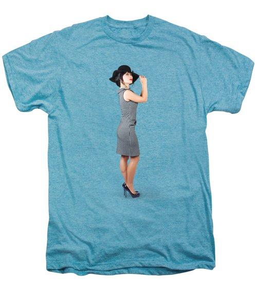 Vintage Summer Clothes Woman. Full Length Portrait Men's Premium T-Shirt