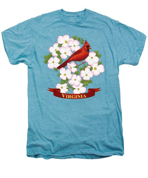 Virginia State Bird Cardinal And Flowering Dogwood Men's Premium T-Shirt by Crista Forest