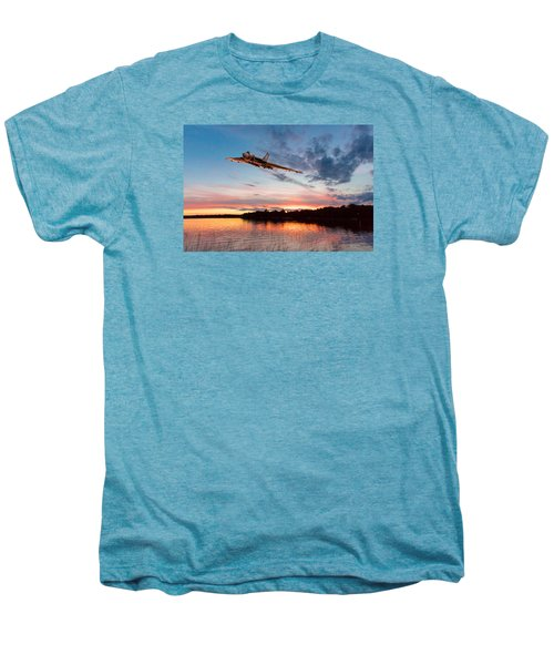 Men's Premium T-Shirt featuring the digital art Vulcan Low Over A Sunset Lake by Gary Eason