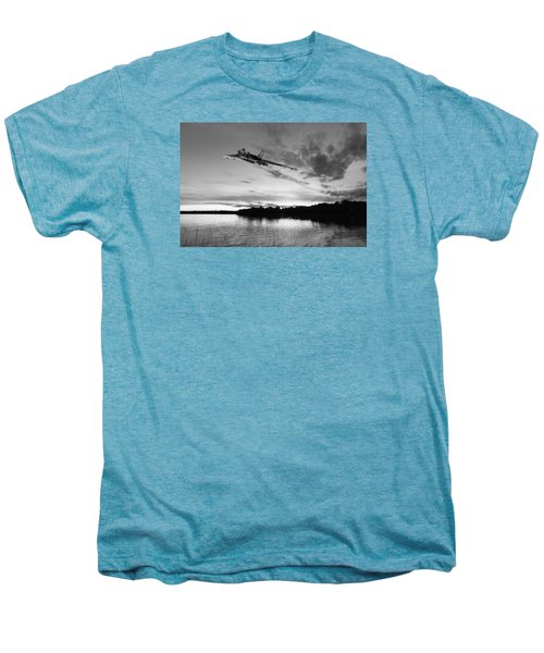 Men's Premium T-Shirt featuring the digital art Vulcan Low Over A Sunset Lake Sunset Lake Bw by Gary Eason