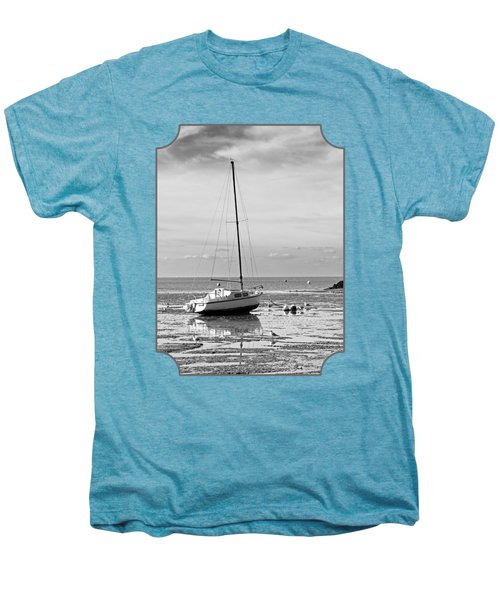 Waiting For High Tide Black And White Men's Premium T-Shirt by Gill Billington