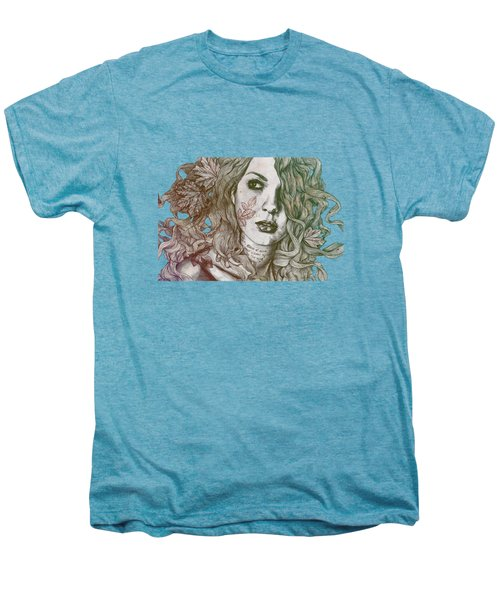 Wake - Autumn - Street Art Woman With Maple Leaves Tattoo Men's Premium T-Shirt