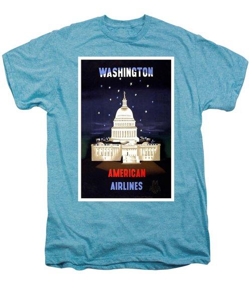 Washington, American Airlines - Retro Travel Poster - Vintage Poster Men's Premium T-Shirt