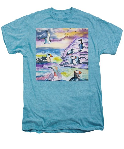 Watercolor - Alaska Seabird Gathering Men's Premium T-Shirt