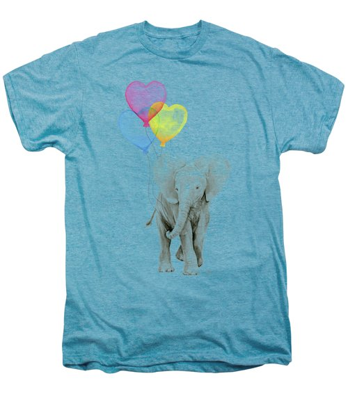 Watercolor Elephant With Heart Shaped Balloons Men's Premium T-Shirt by Olga Shvartsur