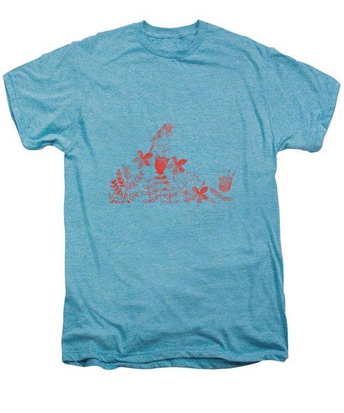 Watercolor Floral And Birds Men's Premium T-Shirt