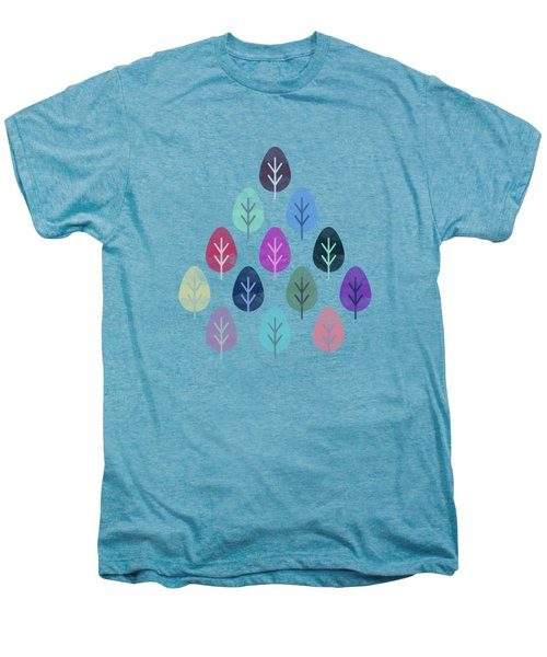Watercolor Forest Pattern  Men's Premium T-Shirt
