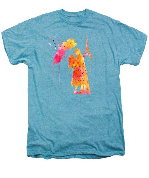 Watercolor Love Couple In Paris Men's Premium T-Shirt by Marian Voicu