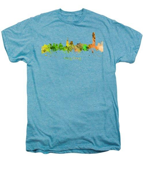 Watercolor Skyline Of Hong Kong Men's Premium T-Shirt by Chris Smith