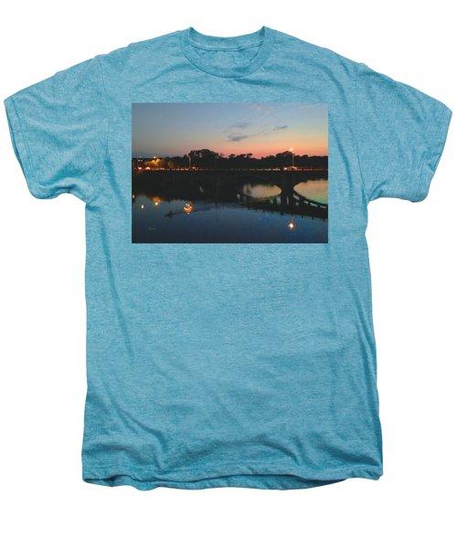 Watercolor Sunset Over Lamar Street Bridge Austin Texas Men's Premium T-Shirt