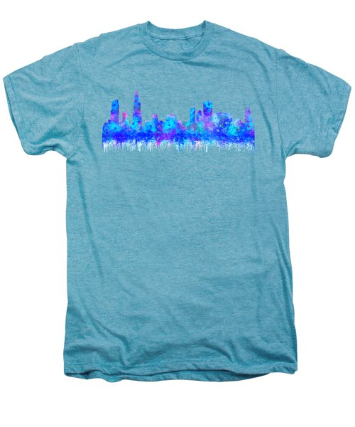 Watercolour Splashes And Dripping Effect Chicago Skyline Men's Premium T-Shirt