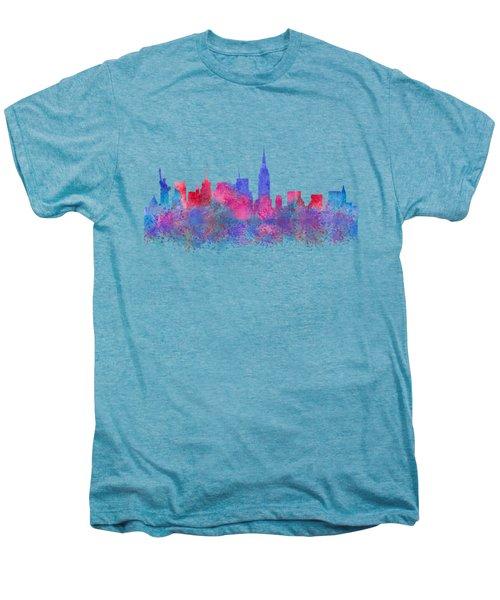 Watercolour Splashes New York City Skylines Men's Premium T-Shirt
