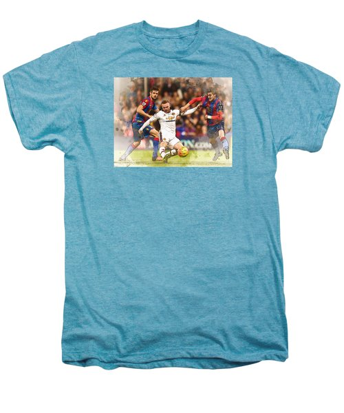 Wayne Rooney Shoots At Goal Men's Premium T-Shirt by Don Kuing