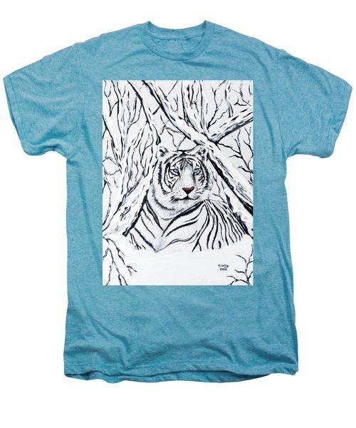 White Tiger Blending In Men's Premium T-Shirt by Teresa Wing