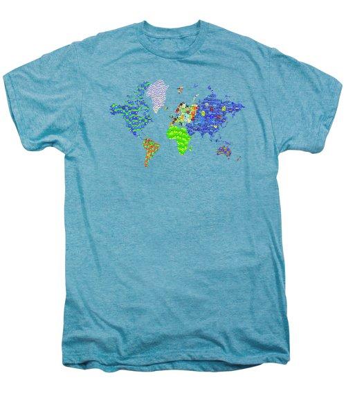 Whole World's Gone Bananas - World Map Sticker Art Men's Premium T-Shirt by Rayanda Arts