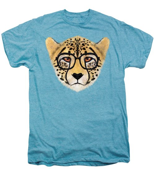 Wild Cheetah With Glasses  Men's Premium T-Shirt by David Ardil
