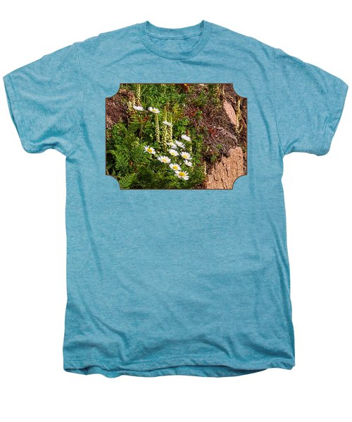 Wild Daisies In The Rocks Men's Premium T-Shirt by Gill Billington