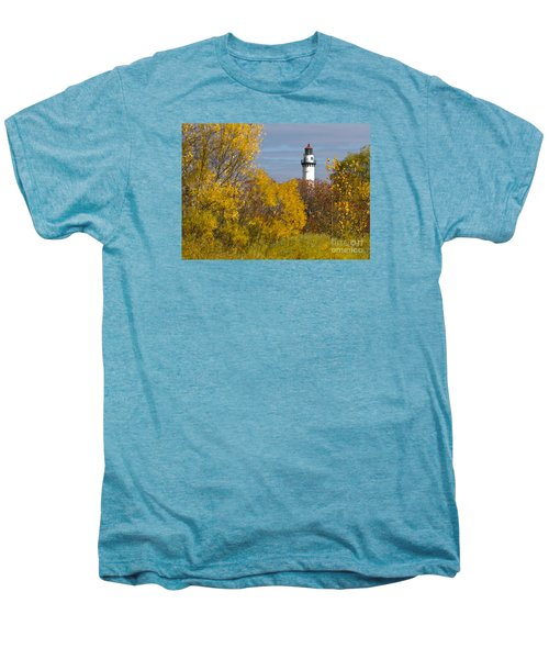Wind Point Lighthouse In Fall Men's Premium T-Shirt