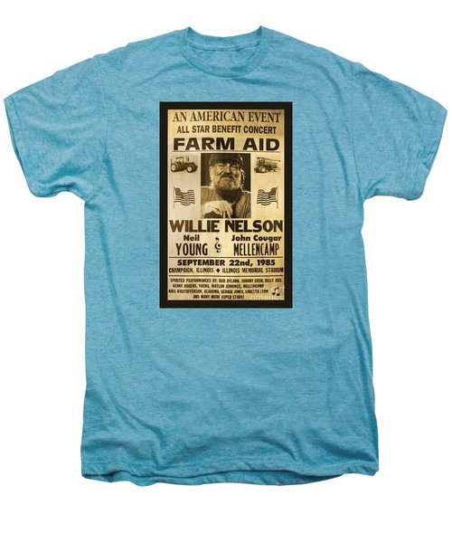 Willie Nelson Neil Young 1985 Farm Aid Poster Men's Premium T-Shirt by John Stephens