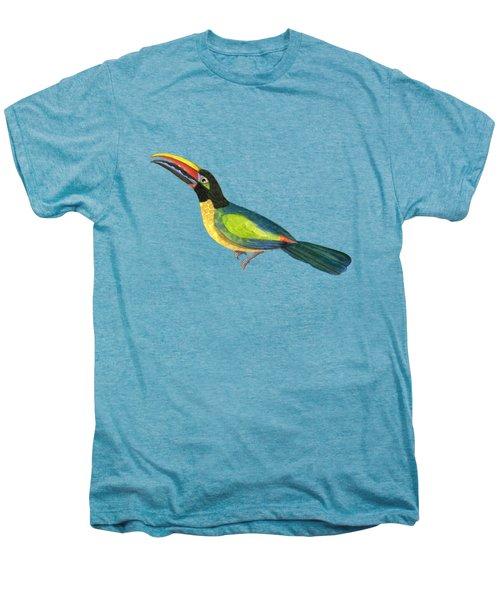 Winged Jewels 2, Watercolor Toucan Rainforest Birds Men's Premium T-Shirt