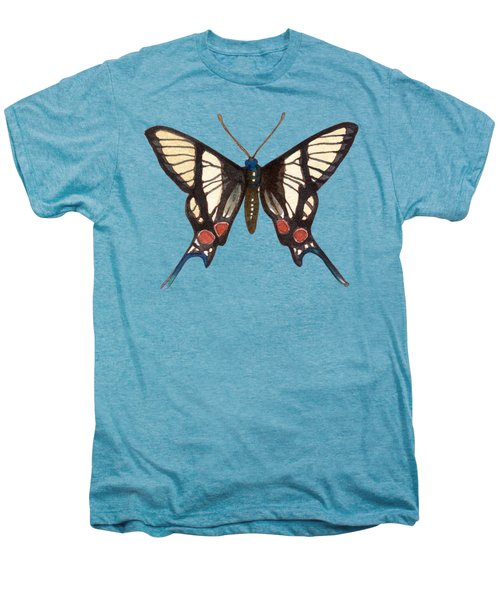 Winged Jewels 4, Watercolor Tropical Butterflie Black White Red Spots Men's Premium T-Shirt