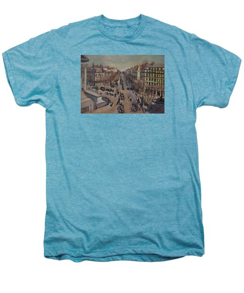 Winter At The Boulevard De La Madeleine, Paris Men's Premium T-Shirt by Nop Briex