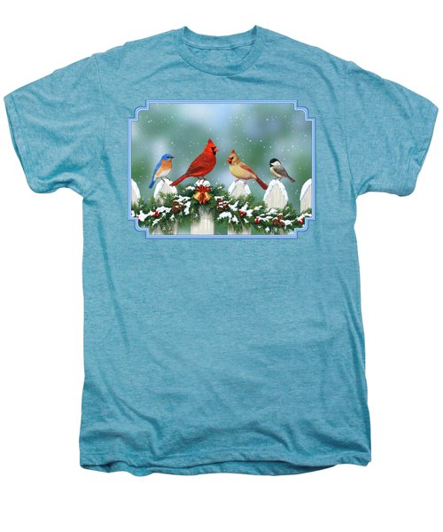 Winter Birds And Christmas Garland Men's Premium T-Shirt by Crista Forest